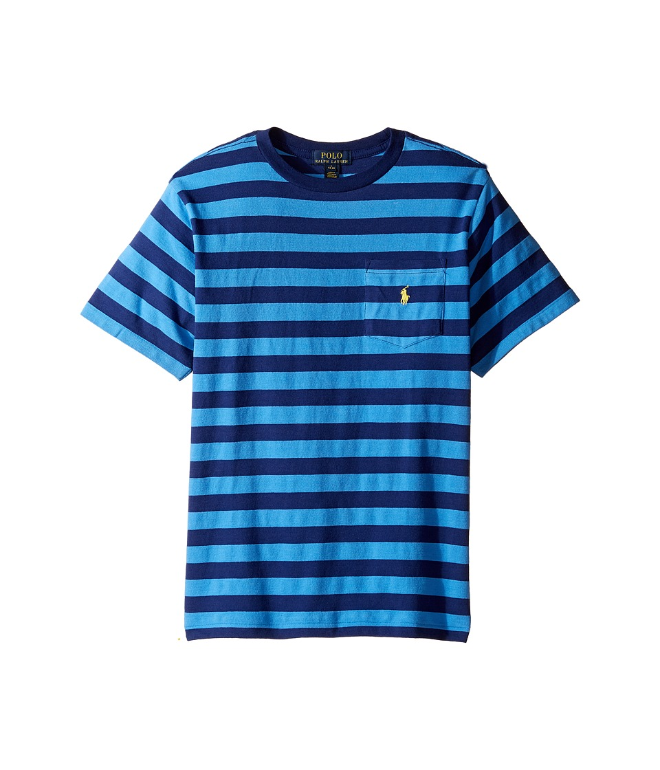 Polo Ralph Lauren Kids - Textured Jersey Short Sleeve Pocket Tee (Big Kids) (Riviera Blue Multi) Boy's T Shirt