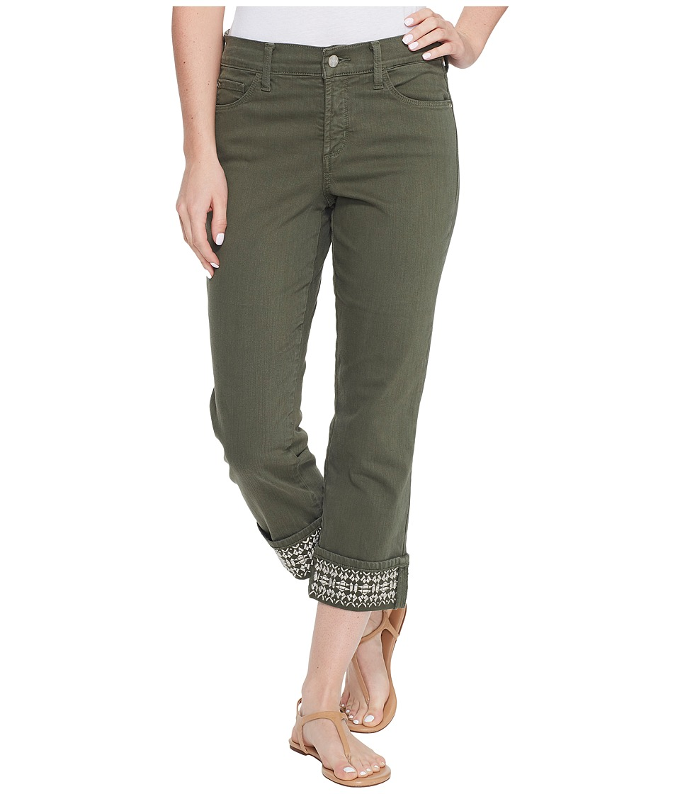 NYDJ - Dayla Wide Cuff Capris w/ Embroidery in Topiary (Topiary) Women's Jeans