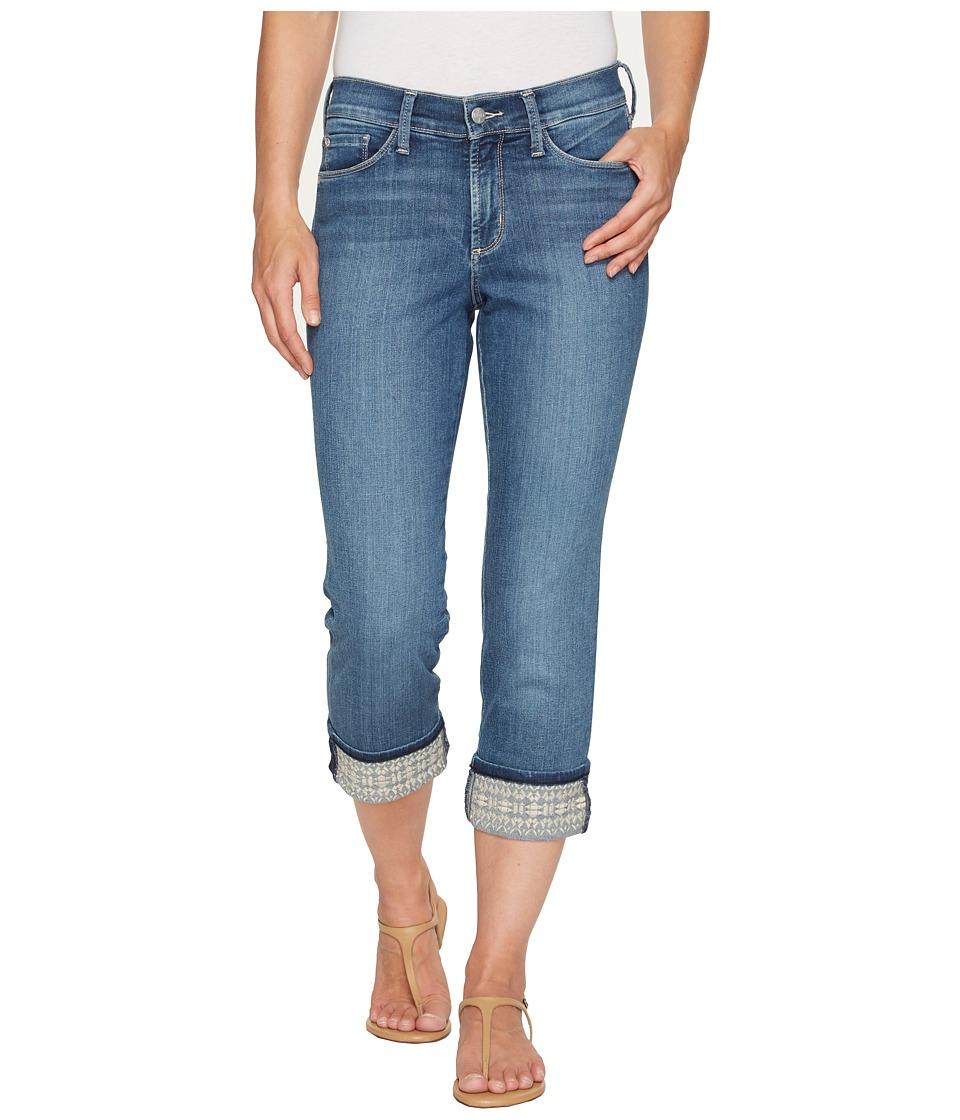NYDJ - Dayla Wide Cuff Capris w/ Embroidery in Heyburn Wash (Heyburn Wash) Women's Jeans
