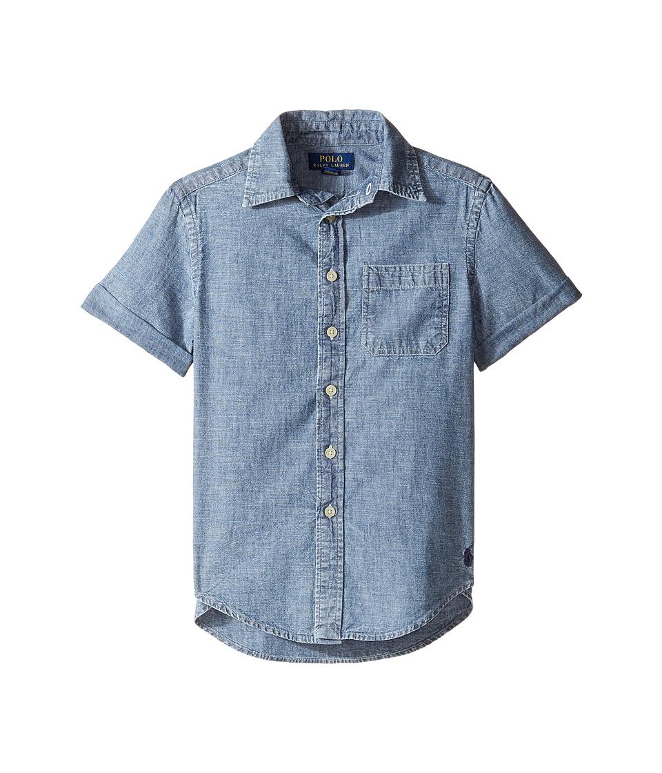 Polo Ralph Lauren Kids - Chambray Short Sleeve Button Down Shirt (Big Kids) (Royal) Boy's Short Sleeve Button Up