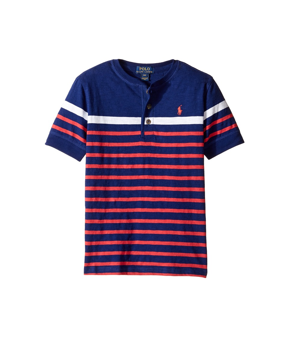 Polo Ralph Lauren Kids - Gauze Jersey Short Sleeve Henley (Big Kids) (Driver Navy Multi) Boy's Short Sleeve Pullover