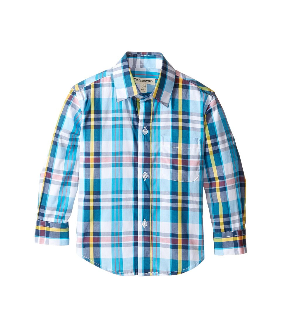 Appaman Kids - The Standard Shirt (Toddler/Little Kids/Big Kids) (Turquoise/Yellow Plaid) Boy's Long Sleeve Button Up