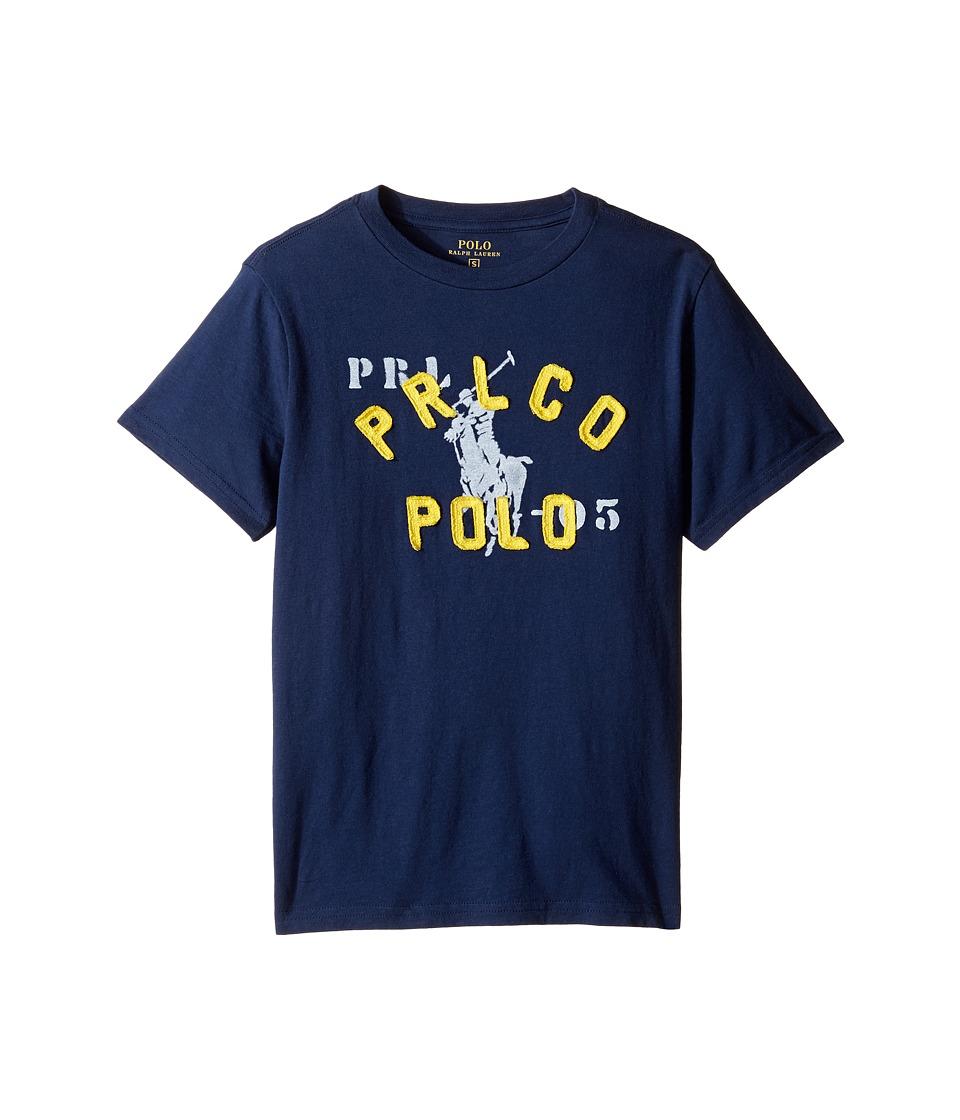 Polo Ralph Lauren Kids - Jersey Graphic Tee (Big Kids) (Summer Navy) Boy's T Shirt