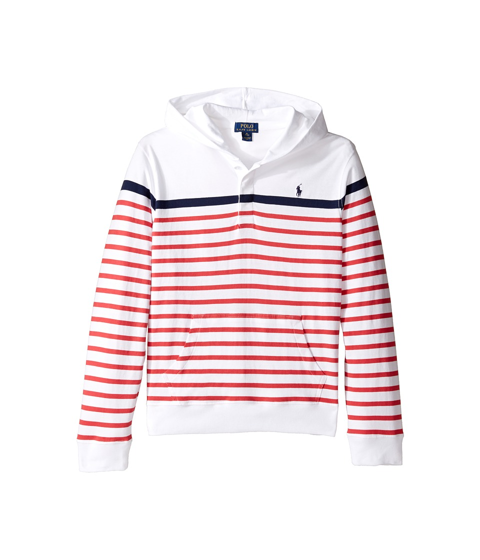 Polo Ralph Lauren Kids - 20/1 Yarn-Dyed Jersey Pullover Hoodie (Bid Kids) (White Multi) Boy's Sweatshirt