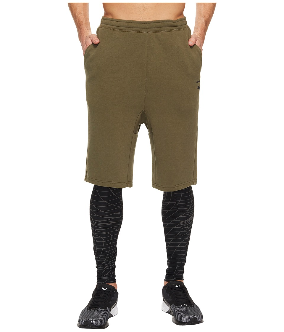 PUMA - Evo Tights 2-in-1 Grid (Olive Night) Men's Clothing