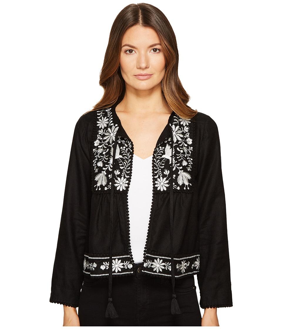 Kate Spade New York - Embroidered Jacket (Black) Women's Coat