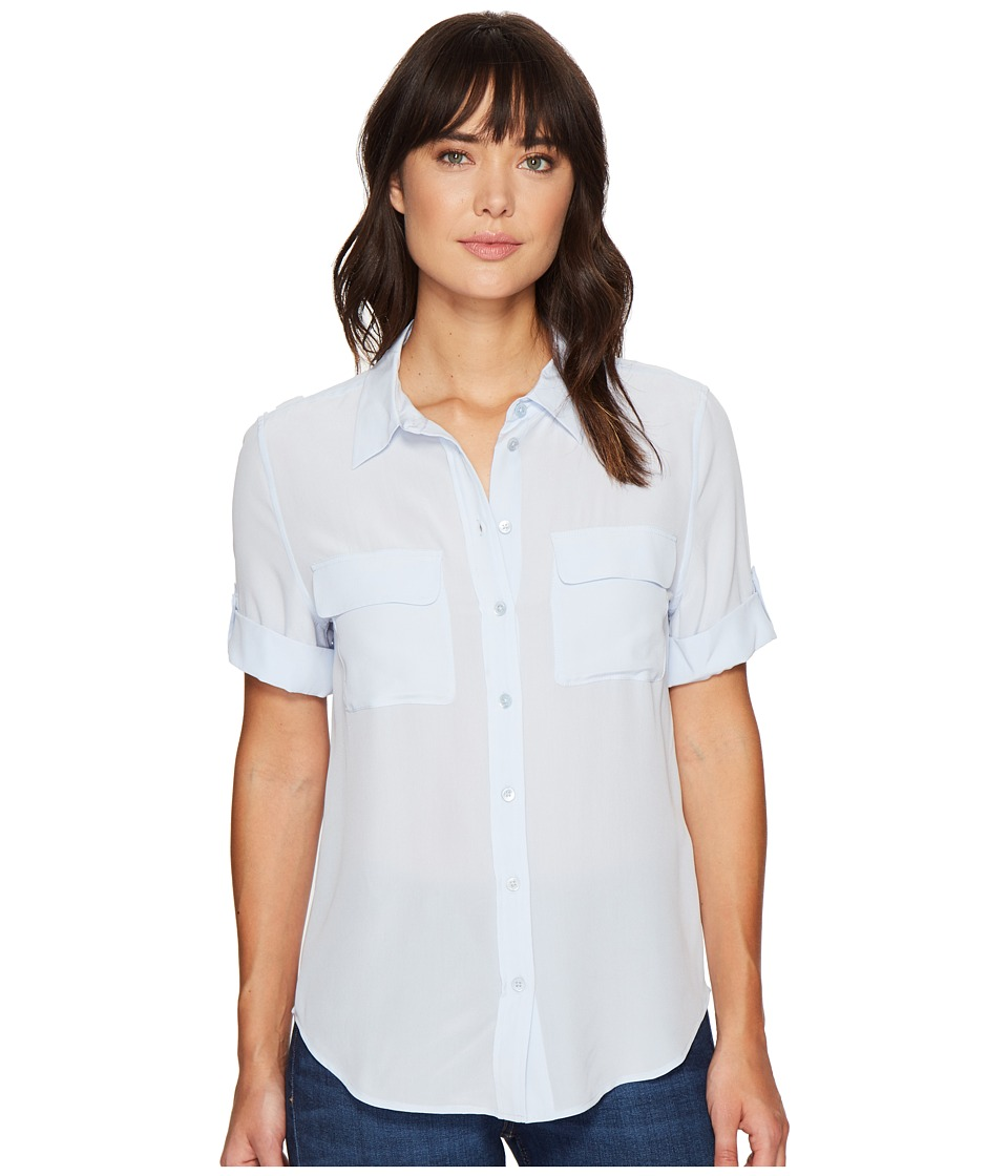 EQUIPMENT - Short Sleeve Slim Signature (Brisk Blue) Women's Blouse