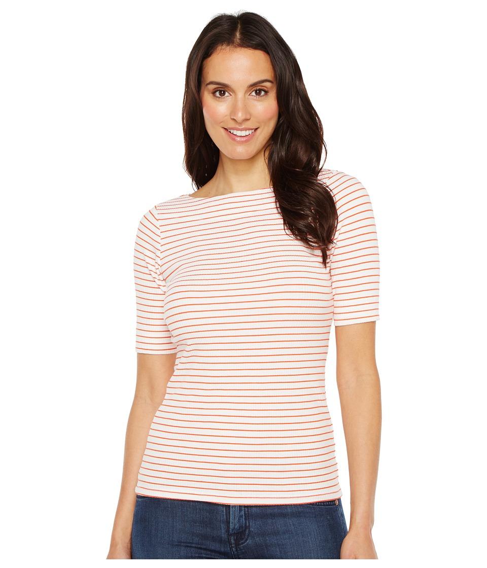 Lilla P - Elbow Sleeve Slit Neck (White/Clementine) Women's Clothing