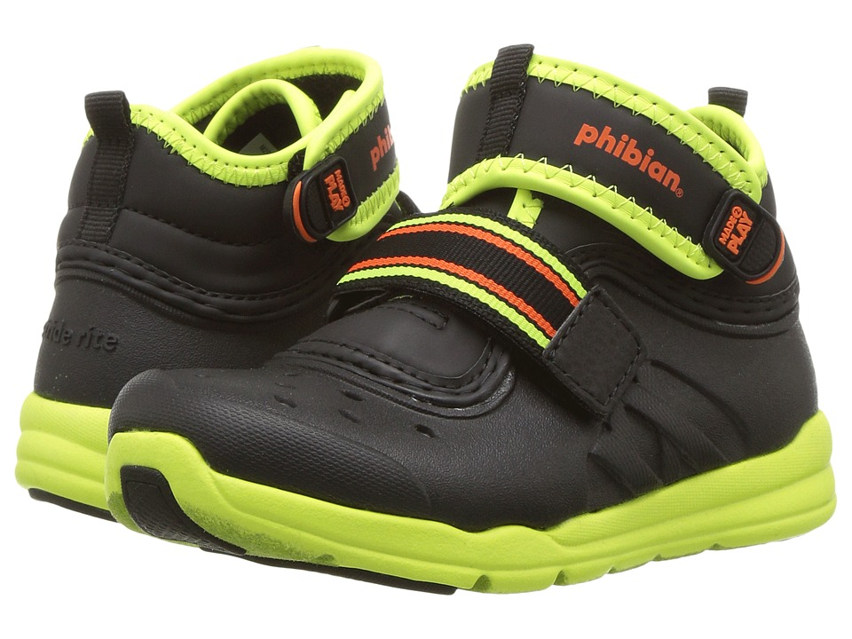 Stride Rite Made 2 Play Phibian Mid (Toddler/Little Kid) (Black/Citron) Boys Shoes