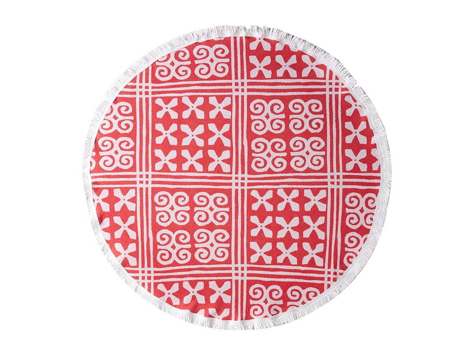 Vera Bradley - Lounge Around Beach Towel (Cuban Tiles Coral) Bath Towels