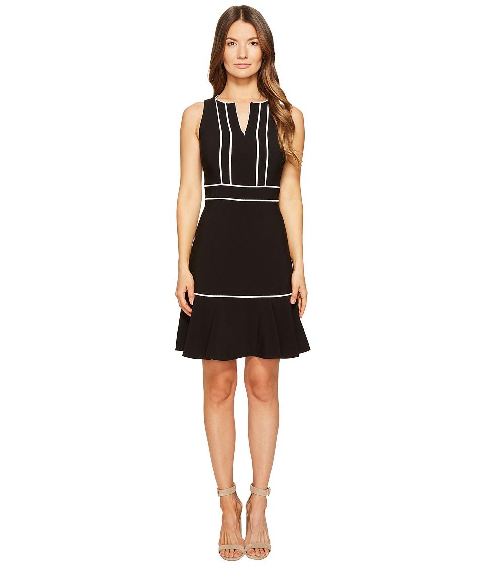 Kate Spade New York - Lace Inset Crepe Dress (Black) Women's Dress