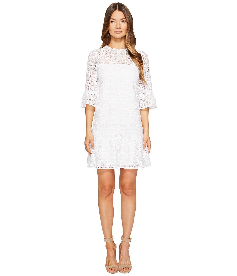 Kate Spade New York Lace Flounce Shift Dress (Fresh White) Women