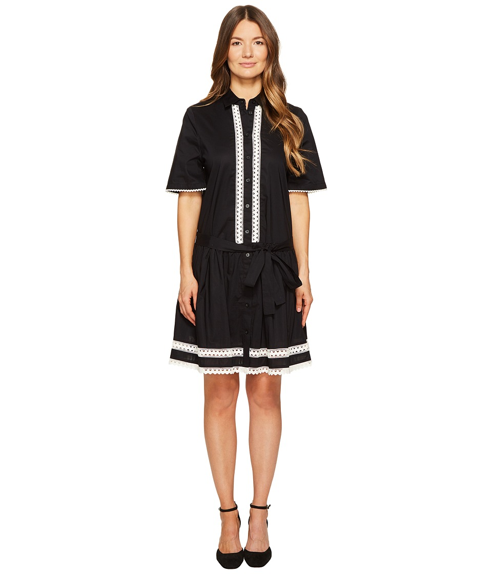 Kate Spade New York - Lace Inset Shirtdress (Black) Women's Dress