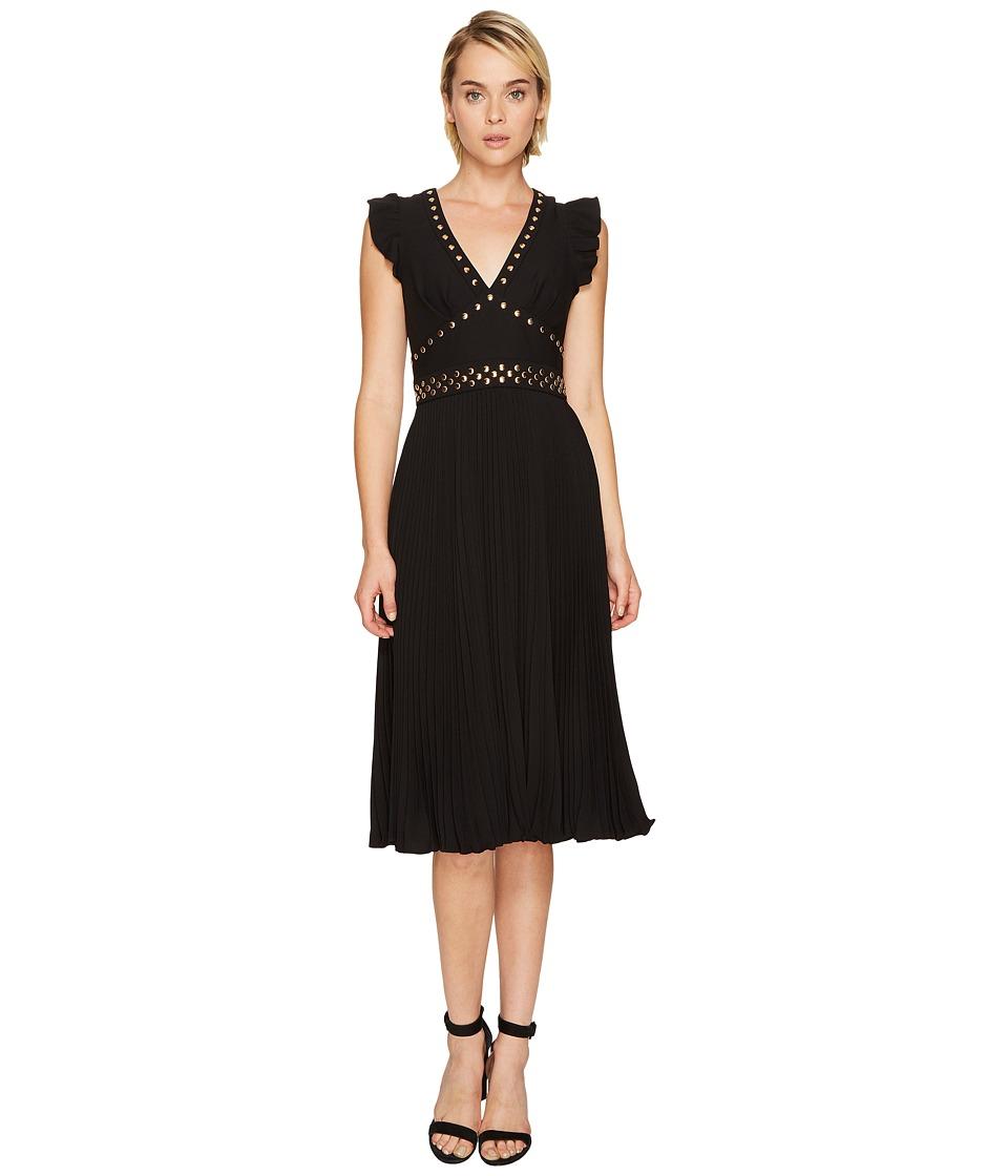 Kate Spade New York - Pleated Stud Crepe Dress (Black) Women's Dress