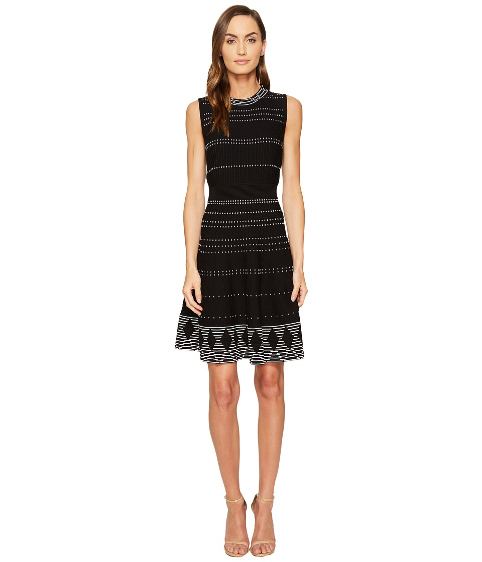 Kate Spade New York - Textured Knit Fit and Flare Dress (Black/Cream) Women's Dress
