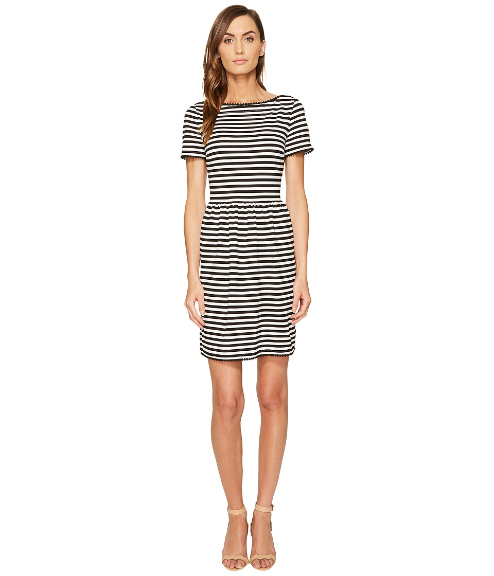 Kate Spade New York - Stripe Ponte Dress (Off-White/Black) Women's Dress