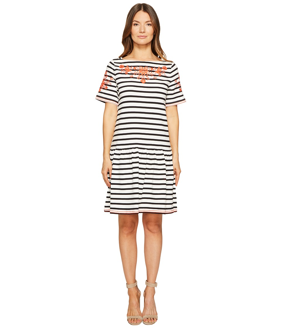 Kate Spade New York - Stripe Embroidered Dress (Off-White/Black) Women's Dress