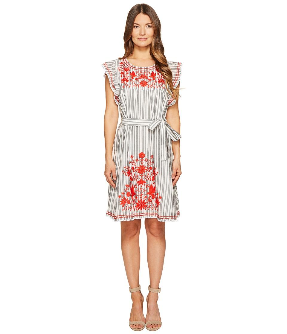 Kate Spade New York - Stripe Embroidered Babydoll Dress (Fresh White/Black) Women's Dress