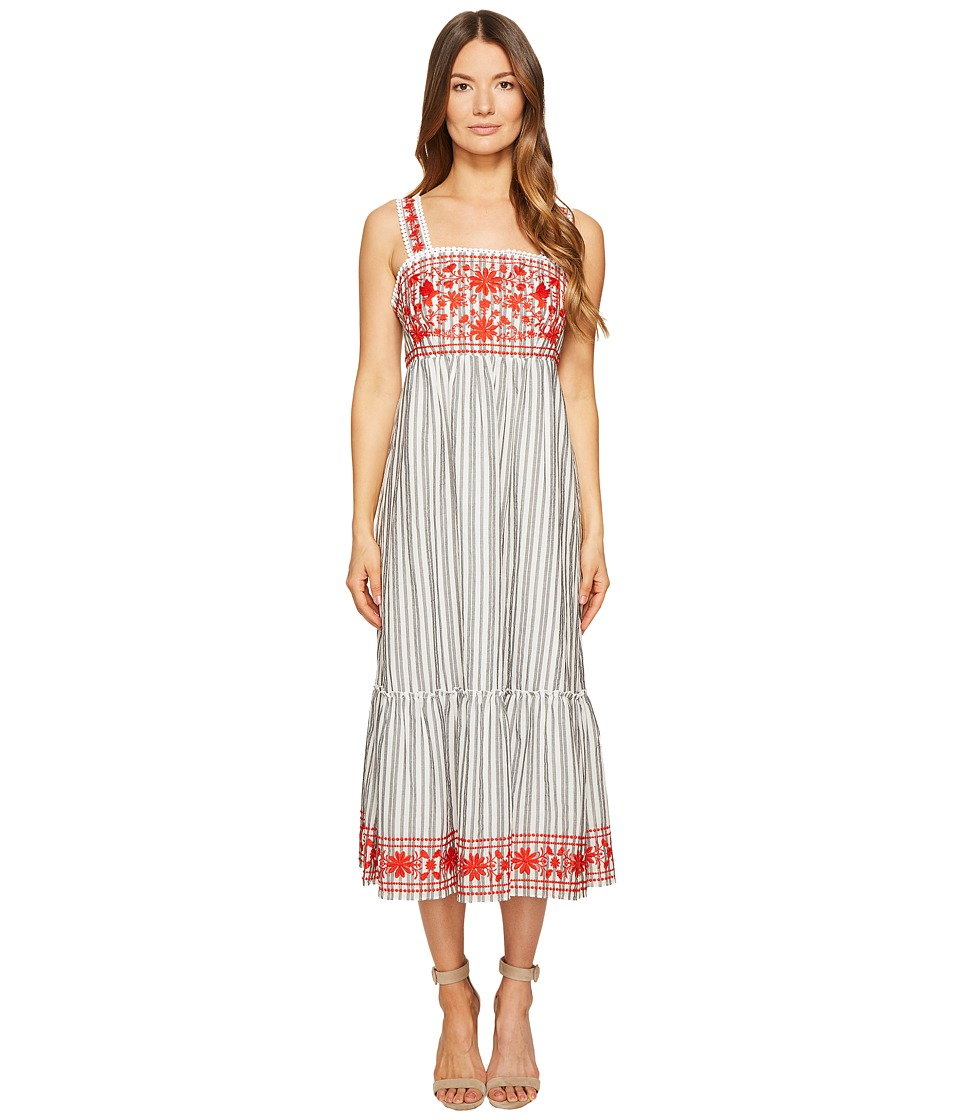Kate Spade New York - Stripe Embroidered Midi Dress (Fresh White/Black) Women's Dress