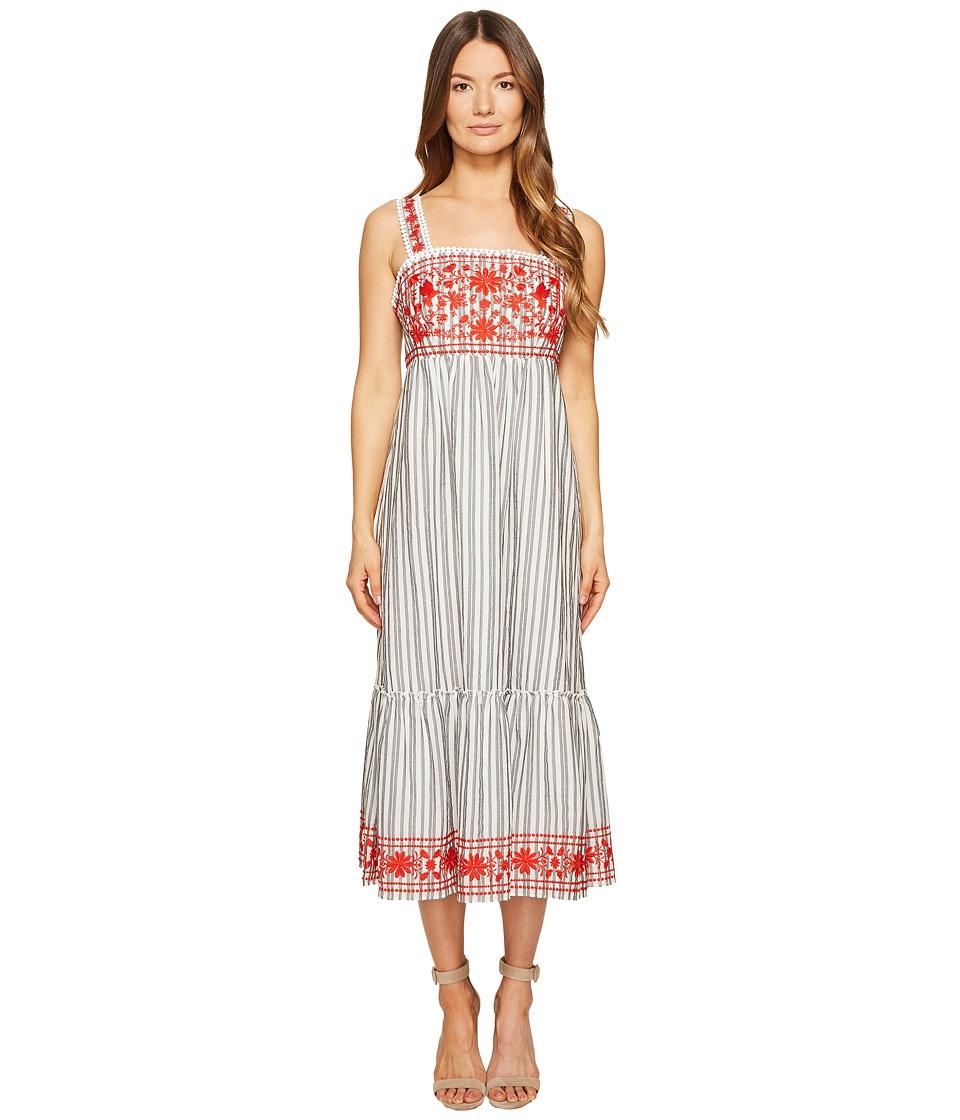 Kate Spade New York Stripe Embroidered Midi Dress (Fresh White/Black) Women