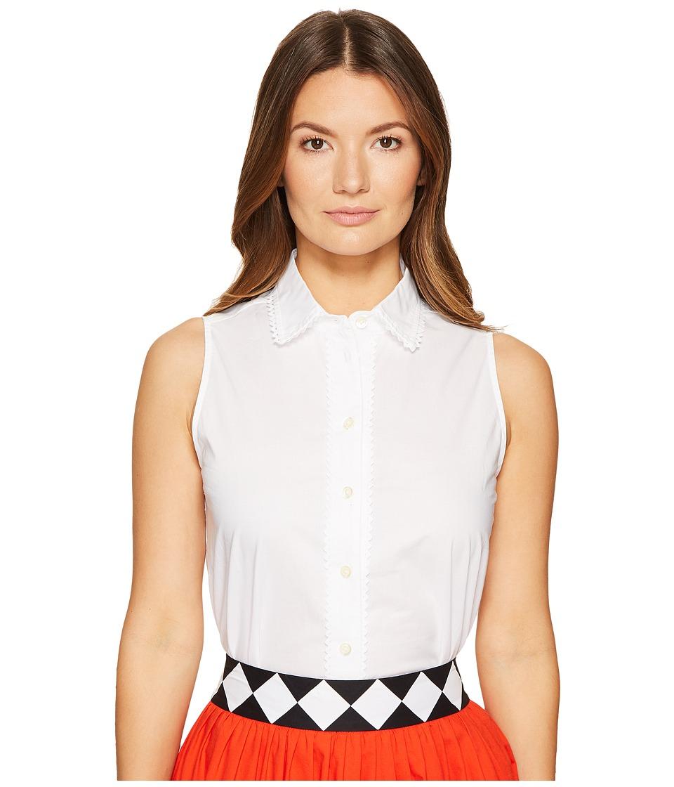 Kate Spade New York - Lace Inset Sleeveless Top (Fresh White) Women's Sleeveless