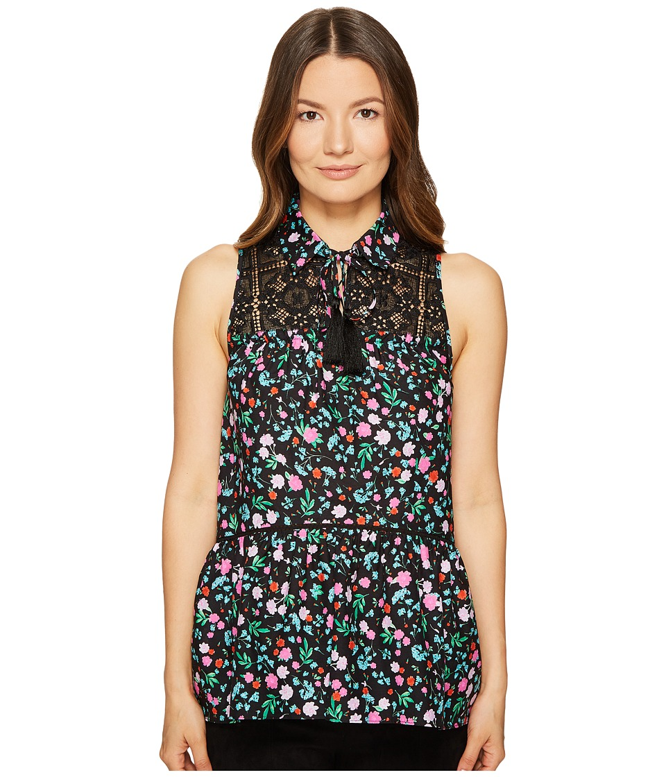 Kate Spade New York - Greenhouse Lace Yoke Top (Black) Women's Clothing