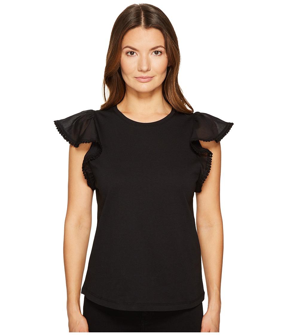 Kate Spade New York - Flutter Sleeve Tee (Black) Women's T Shirt