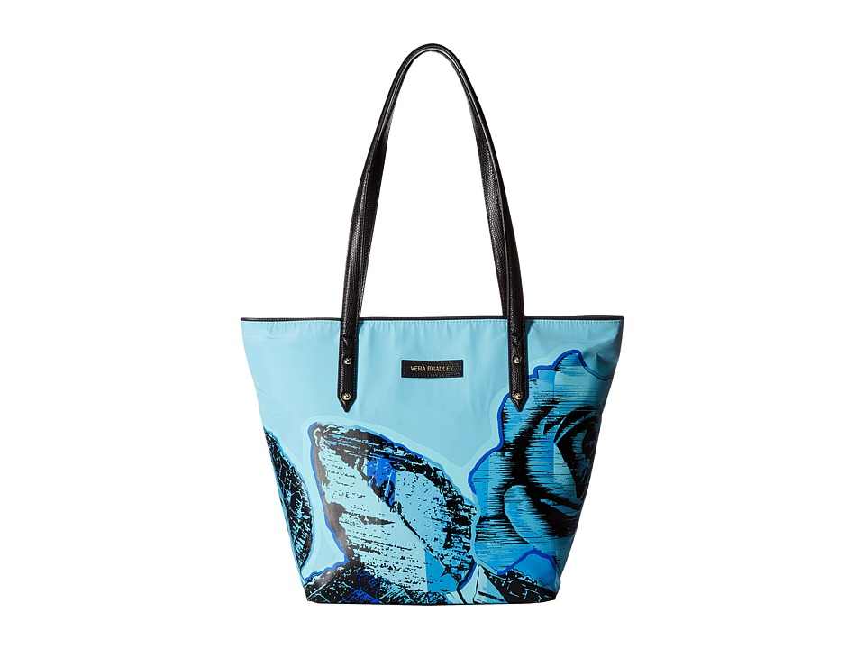 Vera Bradley - Small Ella Tote (Blue Havana Rose) Tote Handbags