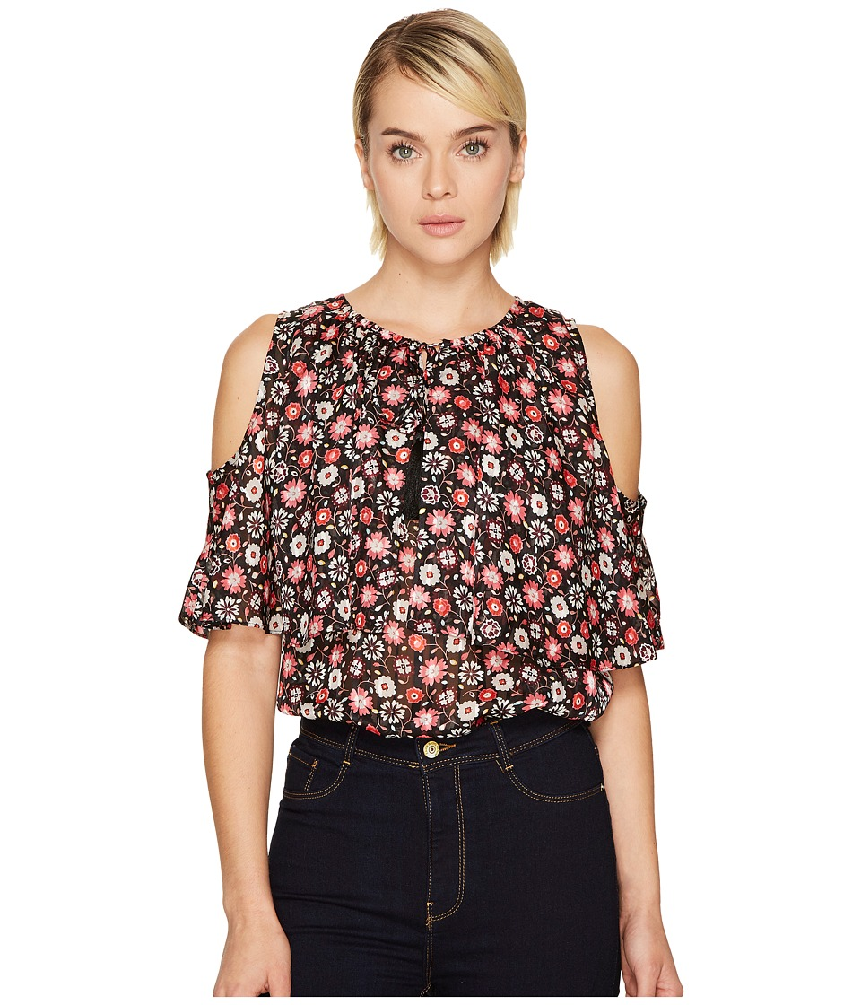 Kate Spade New York - Mini Casa Flora Cold Shoulder Top (Black) Women's Clothing