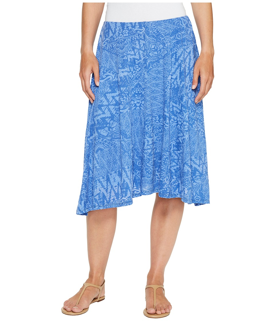 Mod-o-doc Patchwork Burnout Jersey Swing Skirt with Lining (Ocean) Women