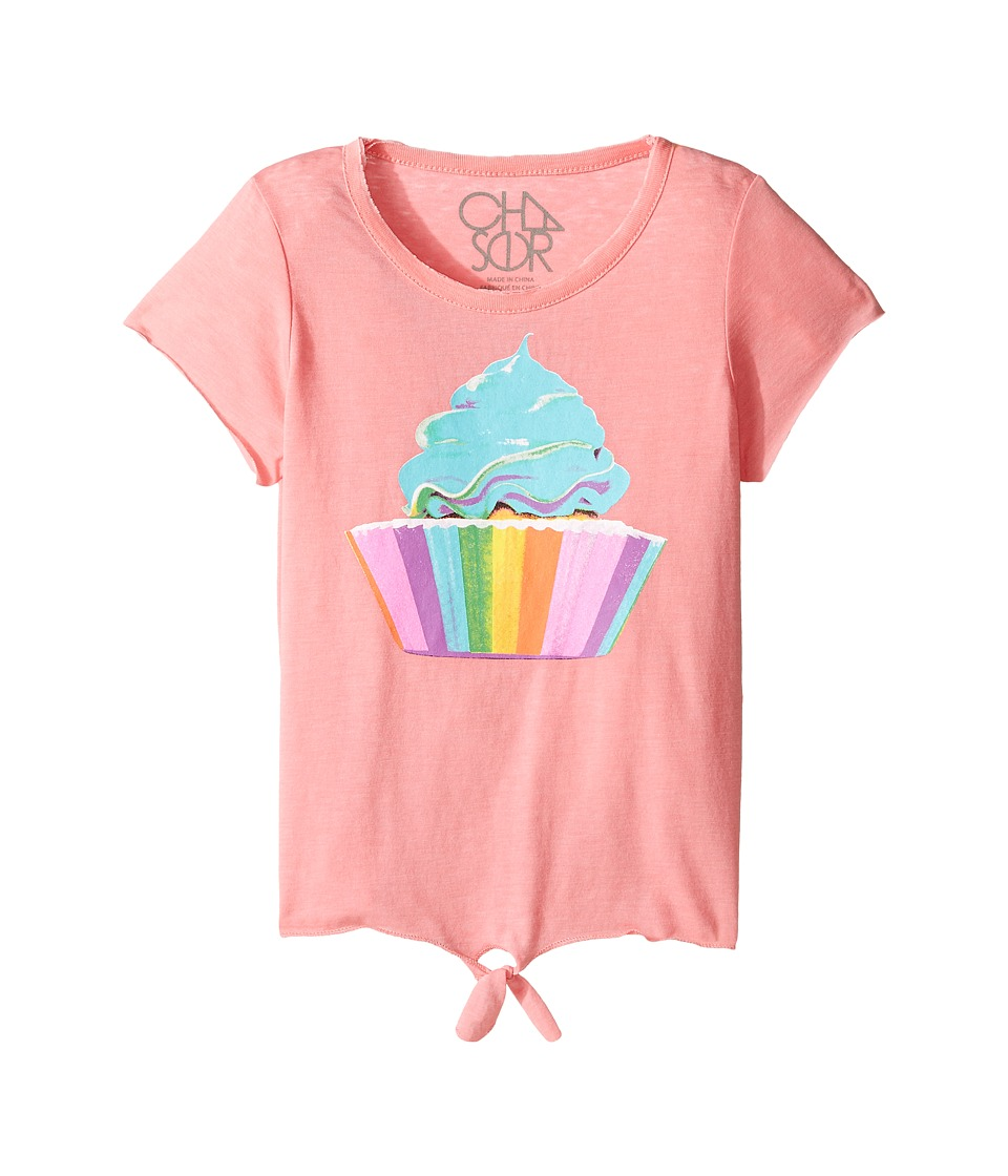 Chaser Kids - Vintage Tie Front Tee (Little Kids/Big Kids) (Rainbow Cupcake) Girl's Clothing