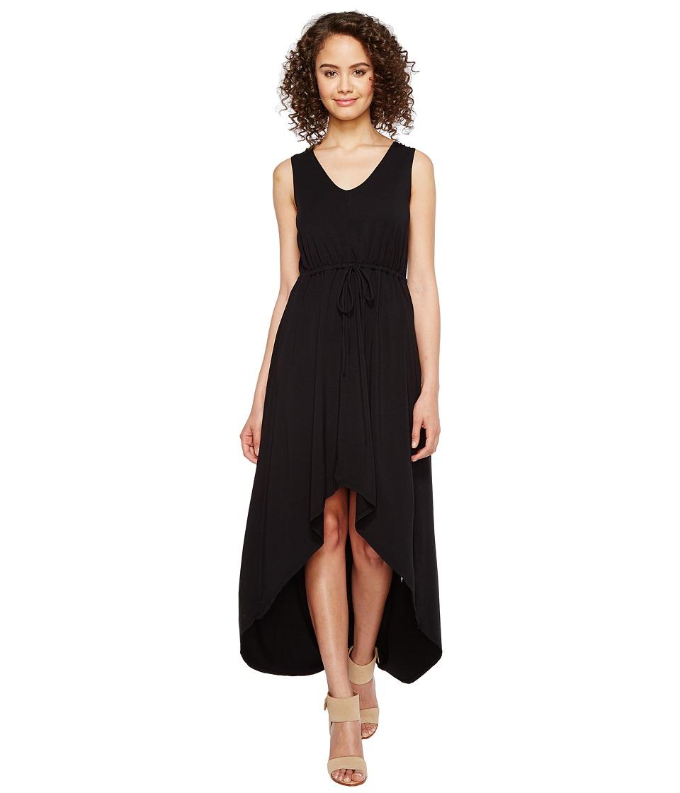 Mod-o-doc Cotton Modal Spandex Jersey Cinch Waist Hi-Low Hem Tank Dress (Black) Women