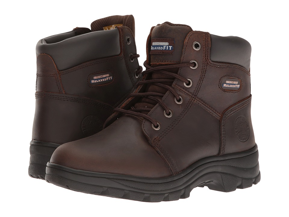 SKECHERS Work - Workshire - Fitton (Dark Brown) Women's Shoes