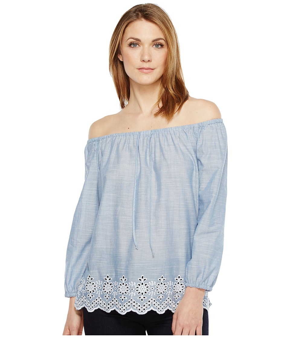 NYDJ - Off Shoulder Top w/ Embroidered Detail (Matisse Blue) Women's Clothing