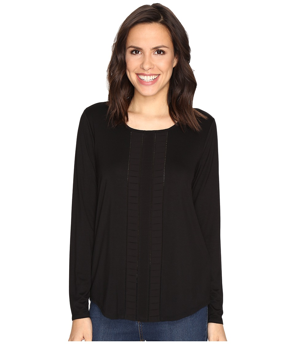 NYDJ - Haley Pleated Top (Black) Women's Clothing