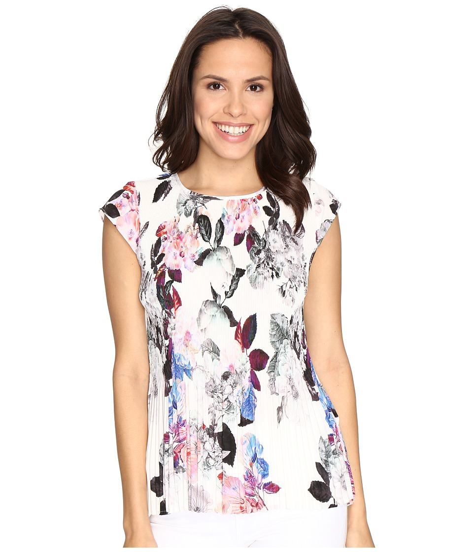 NYDJ - Pleated Top (Nottingham Floral Pink Gerber) Women's Clothing