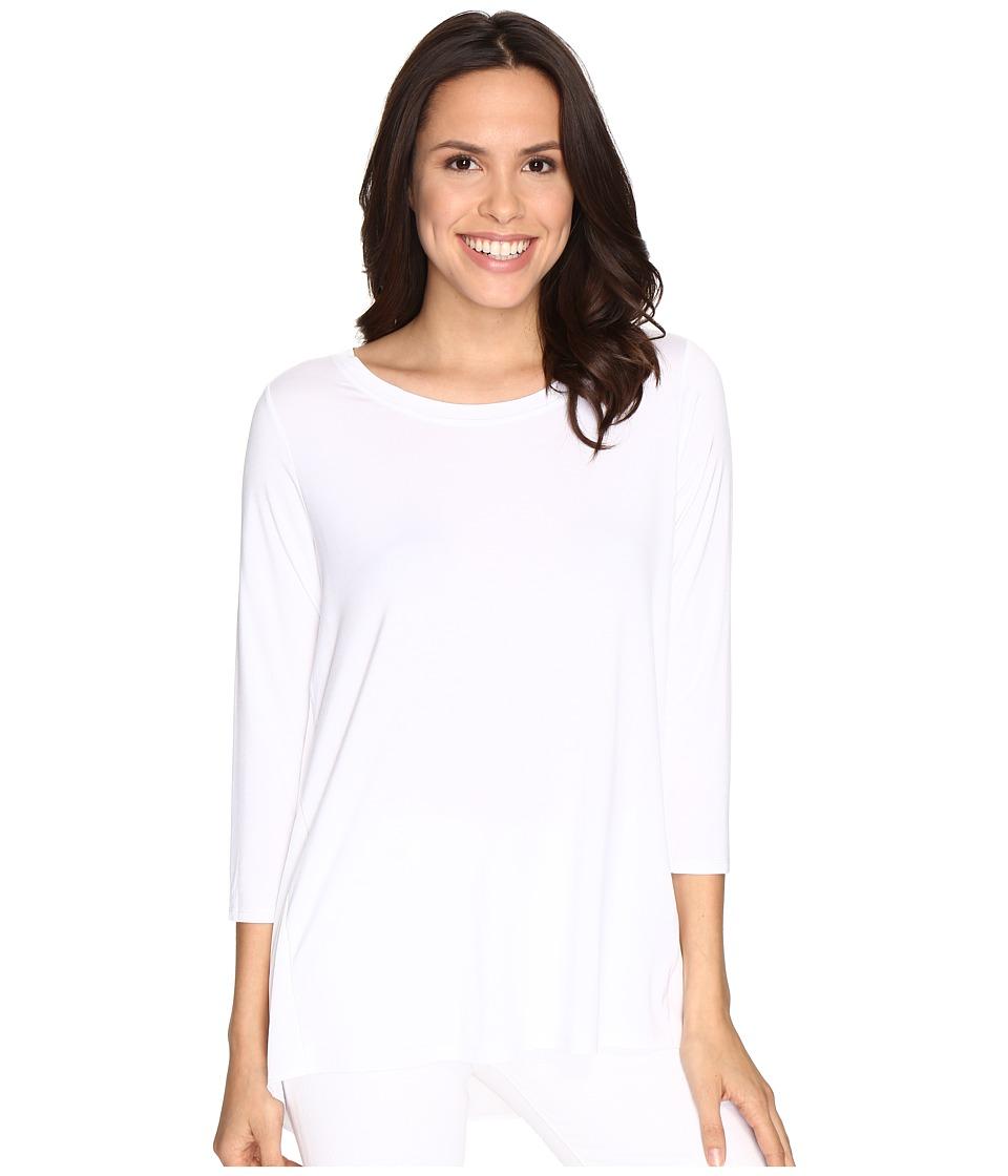 NYDJ - Mixed Drape Back Knit Top (Optic White) Women's Clothing