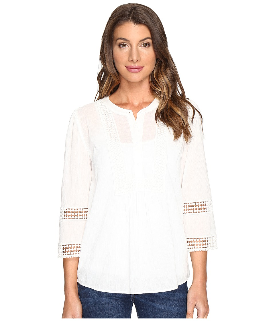 NYDJ - Lace Trim Top (Optic White) Women's Clothing