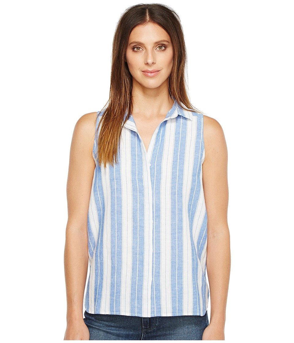 NYDJ - Linen Yarn-Dye Top (Optic White/Cozumel Blue Stripe) Women's Clothing