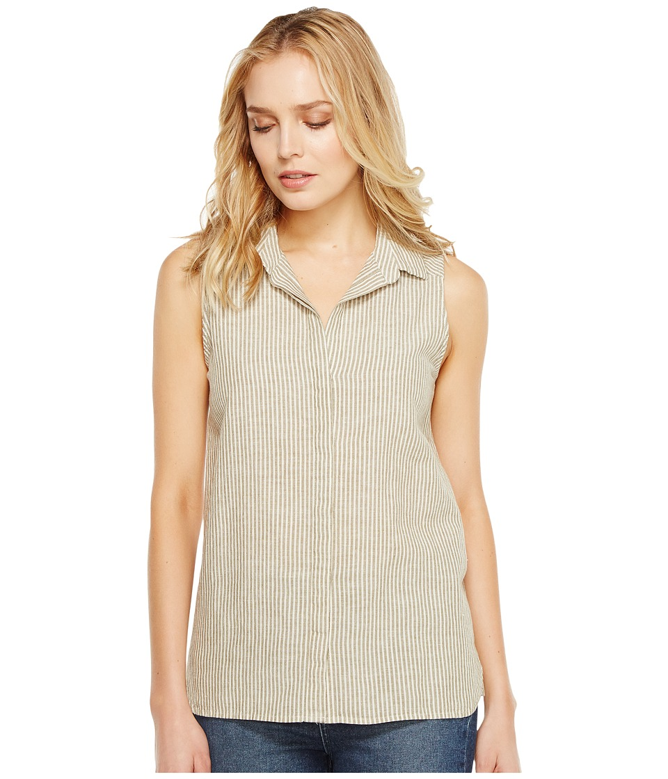 NYDJ - Linen Yarn-Dye Top (Natural/Aloe Vera Stripe) Women's Clothing