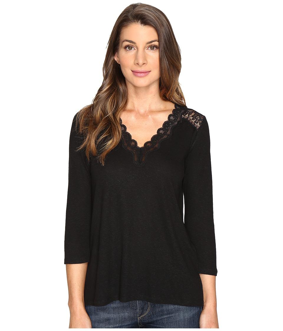 NYDJ - Lace Trim V-Neck Knit Top (Black) Women's Clothing