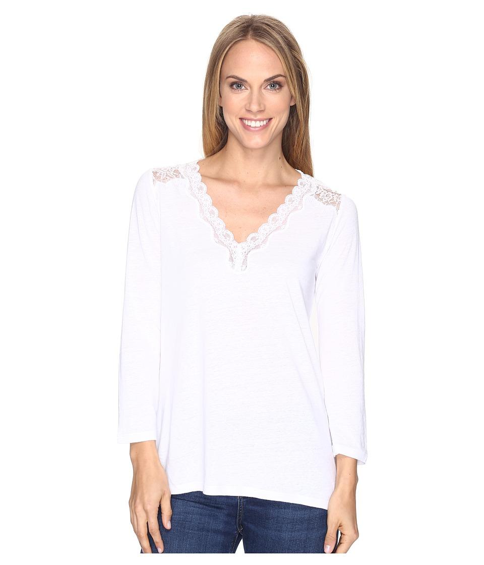 NYDJ - Lace Trim V-Neck Knit Top (Optic White) Women's Clothing
