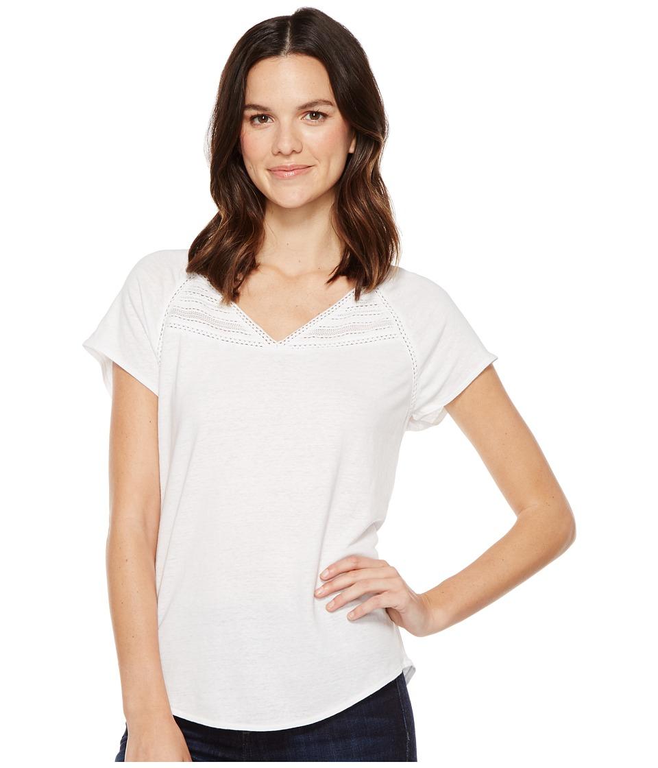 NYDJ - Lace Trim Knit Top (Optic White) Women's Clothing