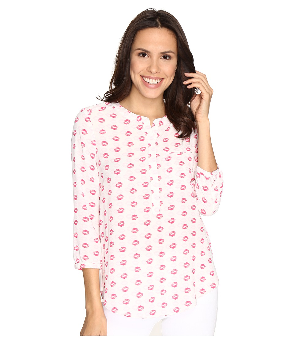 NYDJ - 3/4 Sleeve Pleat Back (Kiss and Tell Pink Gerber) Women's Blouse