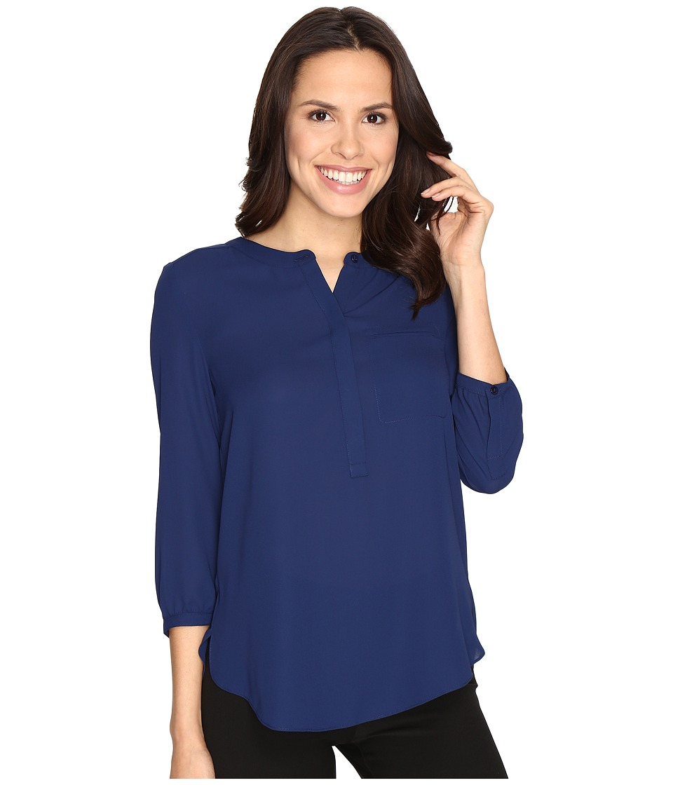 NYDJ - 3/4 Sleeve Pleat Back (Kingston Blue) Women's Blouse
