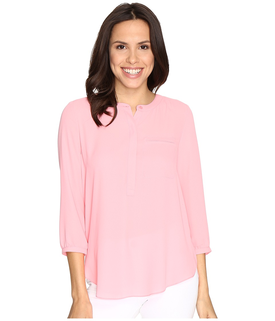 NYDJ - 3/4 Sleeve Pleat Back (Pink Gerber) Women's Blouse