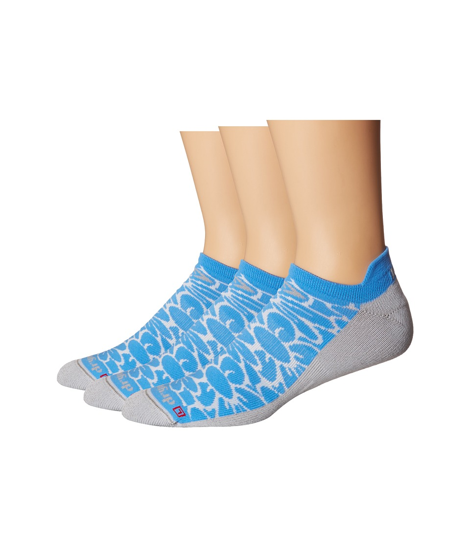 Drymax Sport - Running Lite Mesh No Show Tab 3-Pack (Floral Big Sky Blue/Gray) No Show Socks Shoes
