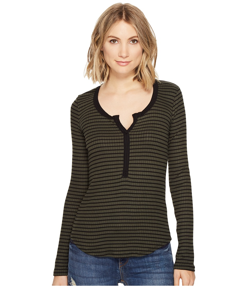 Three Dots - Faux Henley (Tapenade) Women's Clothing