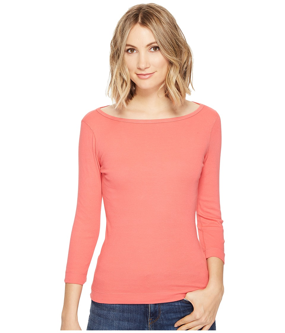 Three Dots - Essential British Neck 3/4 Sleeve Top (English Rose) Women's Clothing
