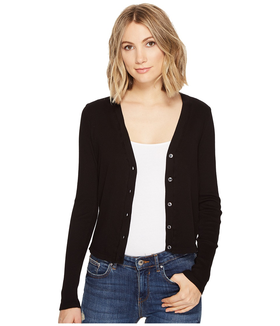 Three Dots - Cropped Cardigan (Black) Women's Sweater